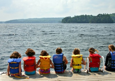 Young canoers in life jackets