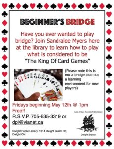 Learn to Play Bridge @ Dwight Public Library | Dwight | Ontario | Canada