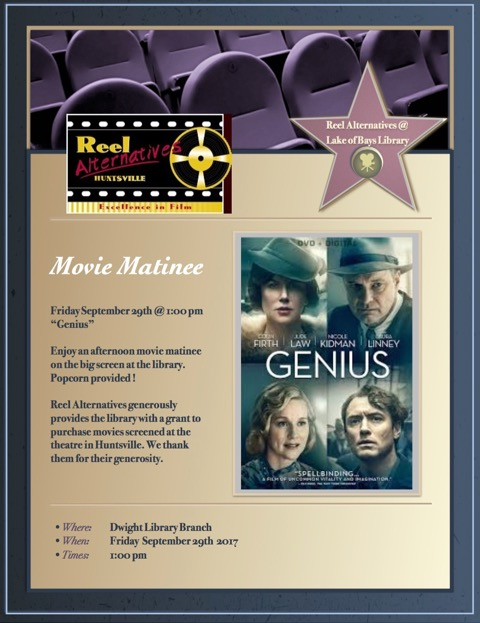 Movie Matinee: Genius @ Dwight Public Library