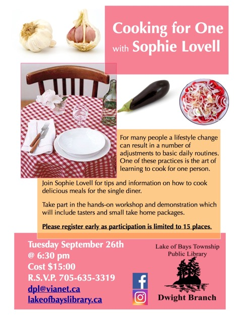 Cooking for One with Sophie Lovell @ Dwight Public Library