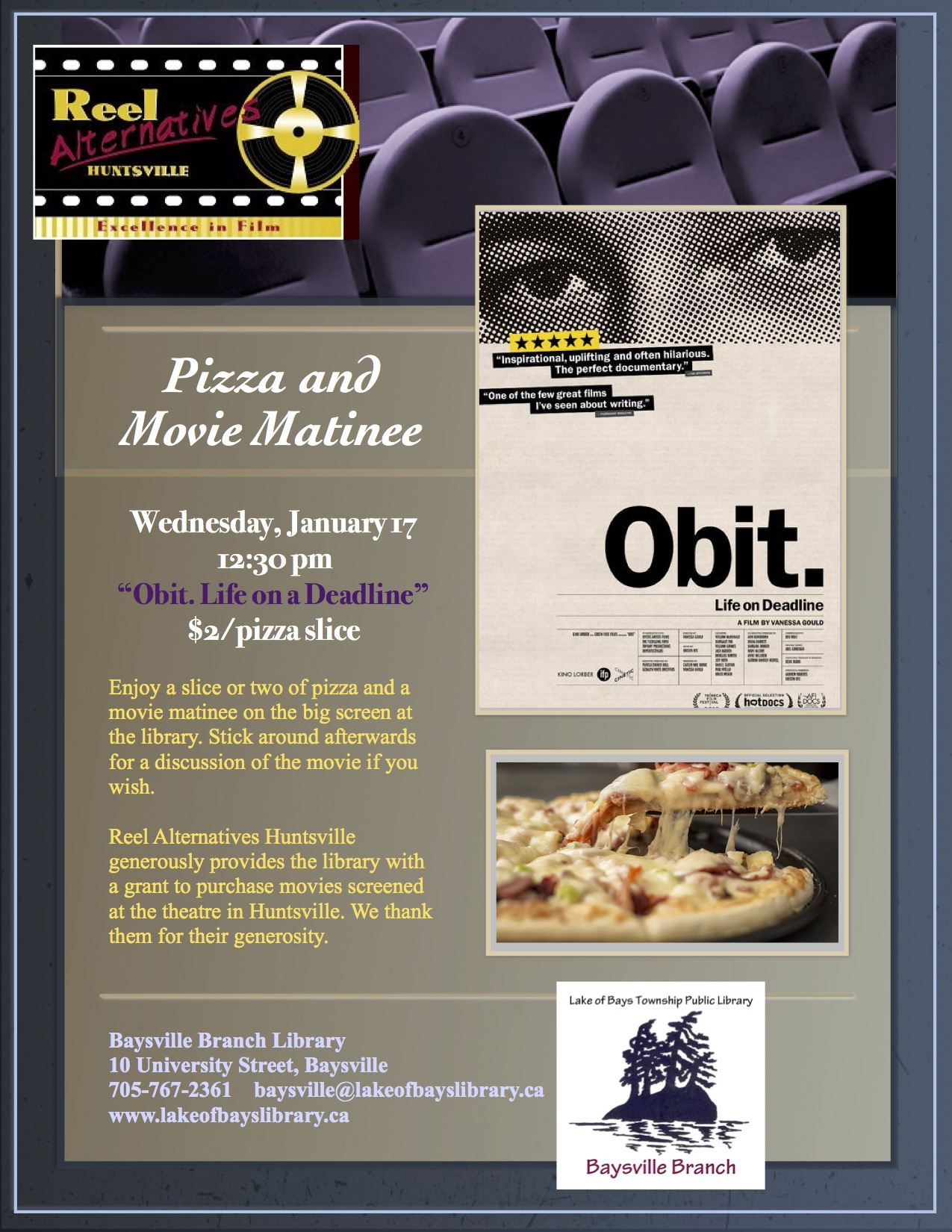 Pizza and Movie at Dwight Public Library: Obit @ Dwight Public Library