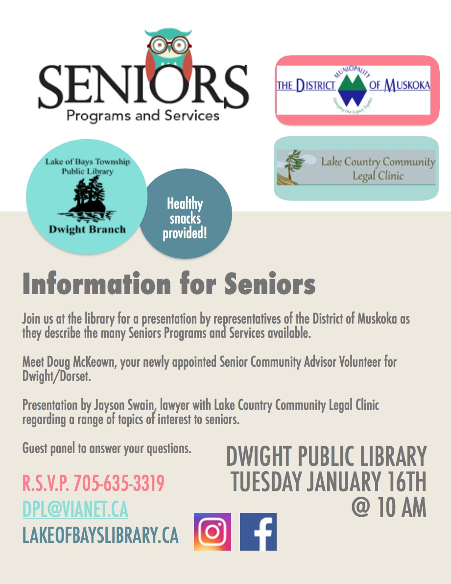 Information for Seniors @ Dwight Public Library