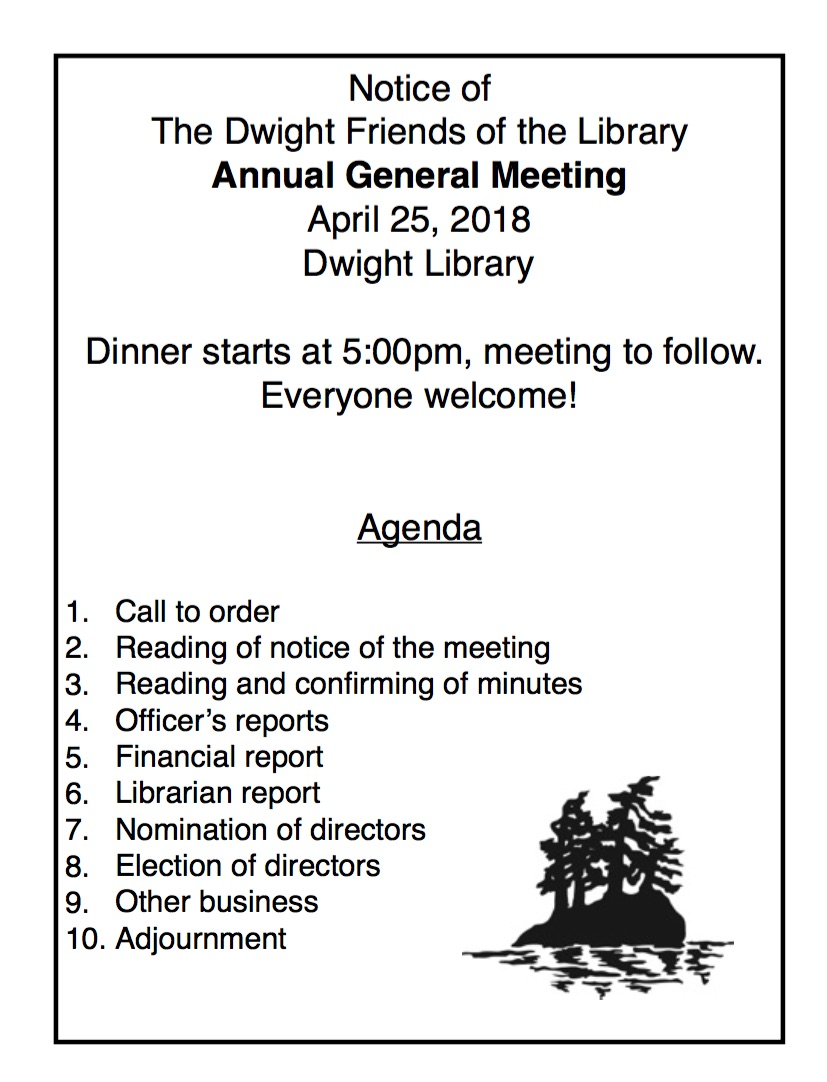 Dwight Friends of the Library: Annual General Meeting @ Dwight Public Library