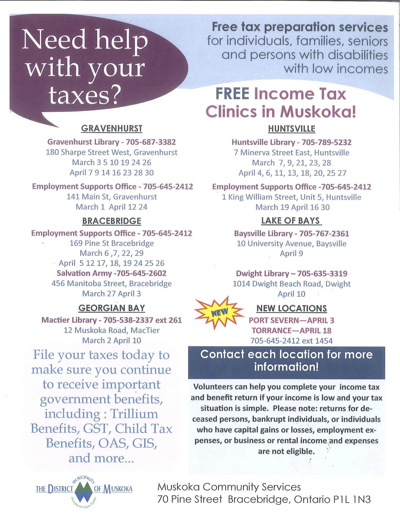 Free Tax Clinics @ Dwight Public Library
